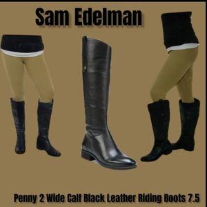 Sam Edelman Black soft leather Penny 2 Wide Shaft Riding Boot sz. 7.5